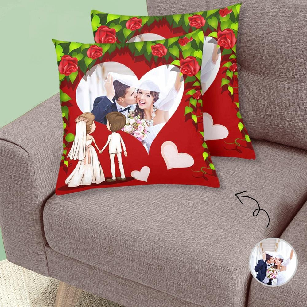 Custom Wedding Couple Rose Heart Throw Pillow Cover