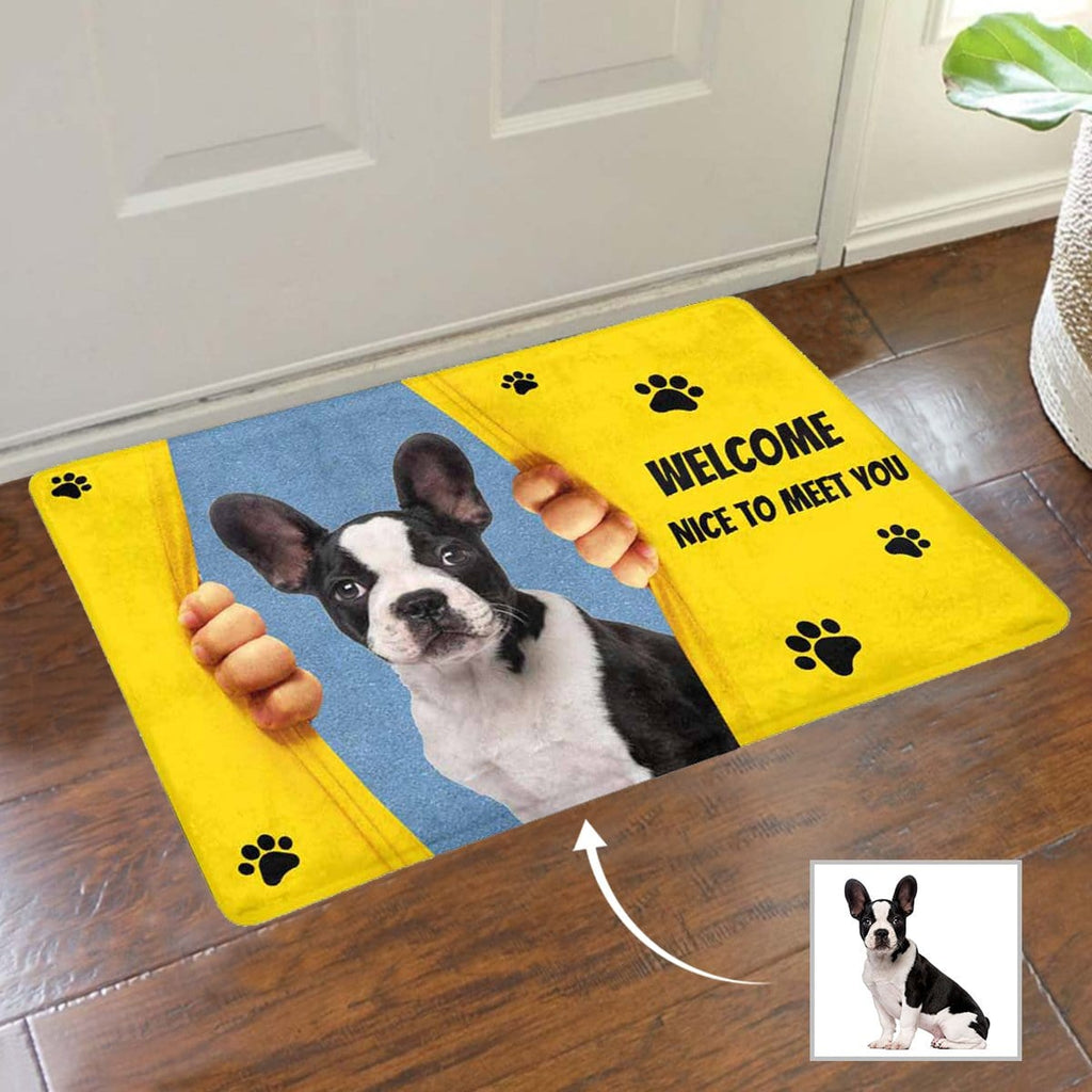 Custom Face Welcome Yellow Paw Doormat