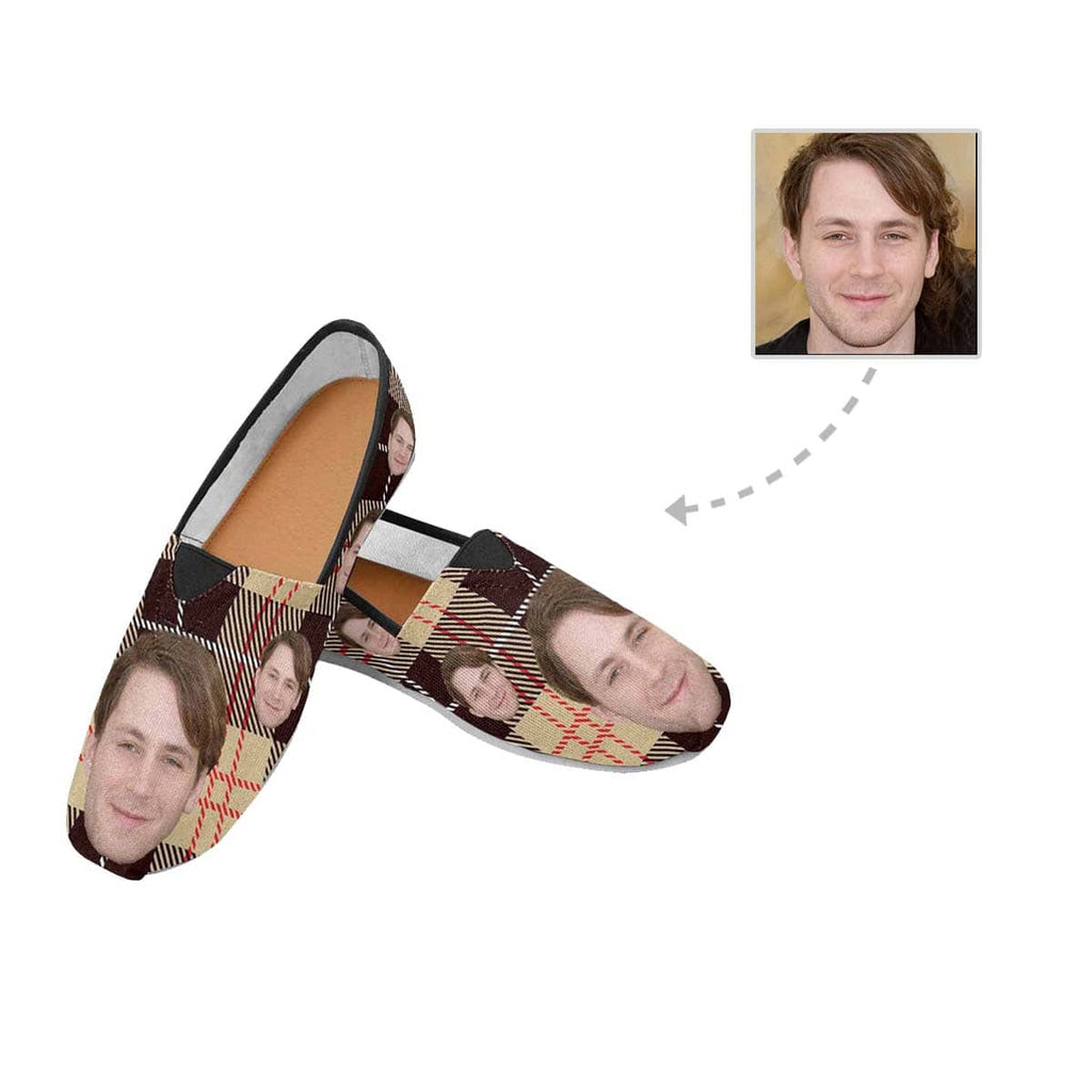 Custom Boyfriend Face Brown Pane Pattern Casual Canvas Women's Shoes