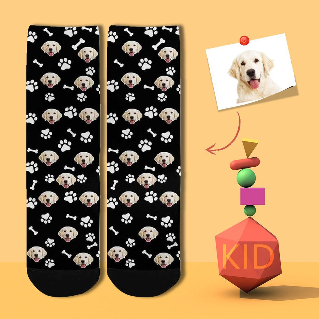 Custom Pet Face Bone Footprint Black Kid's Socks