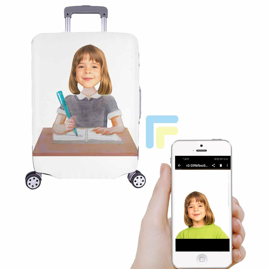 Custom Study Girl Face Luggage Cover