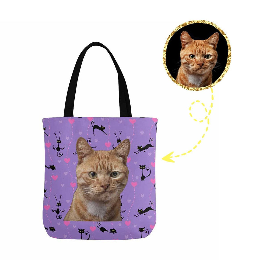 Custom Cat Face Love Heart Canvas Tote Bag