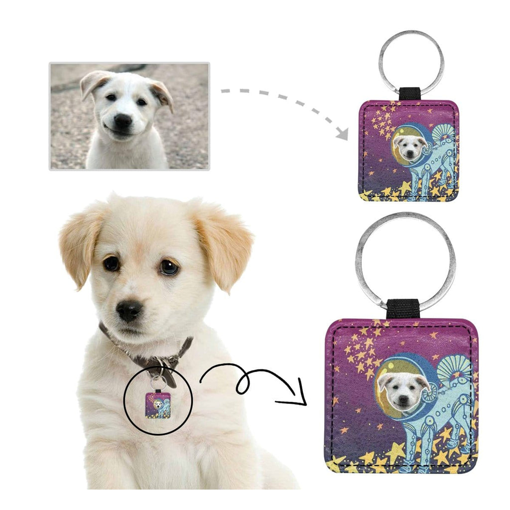 Custom Face Space Stars Square Pet ID Tag