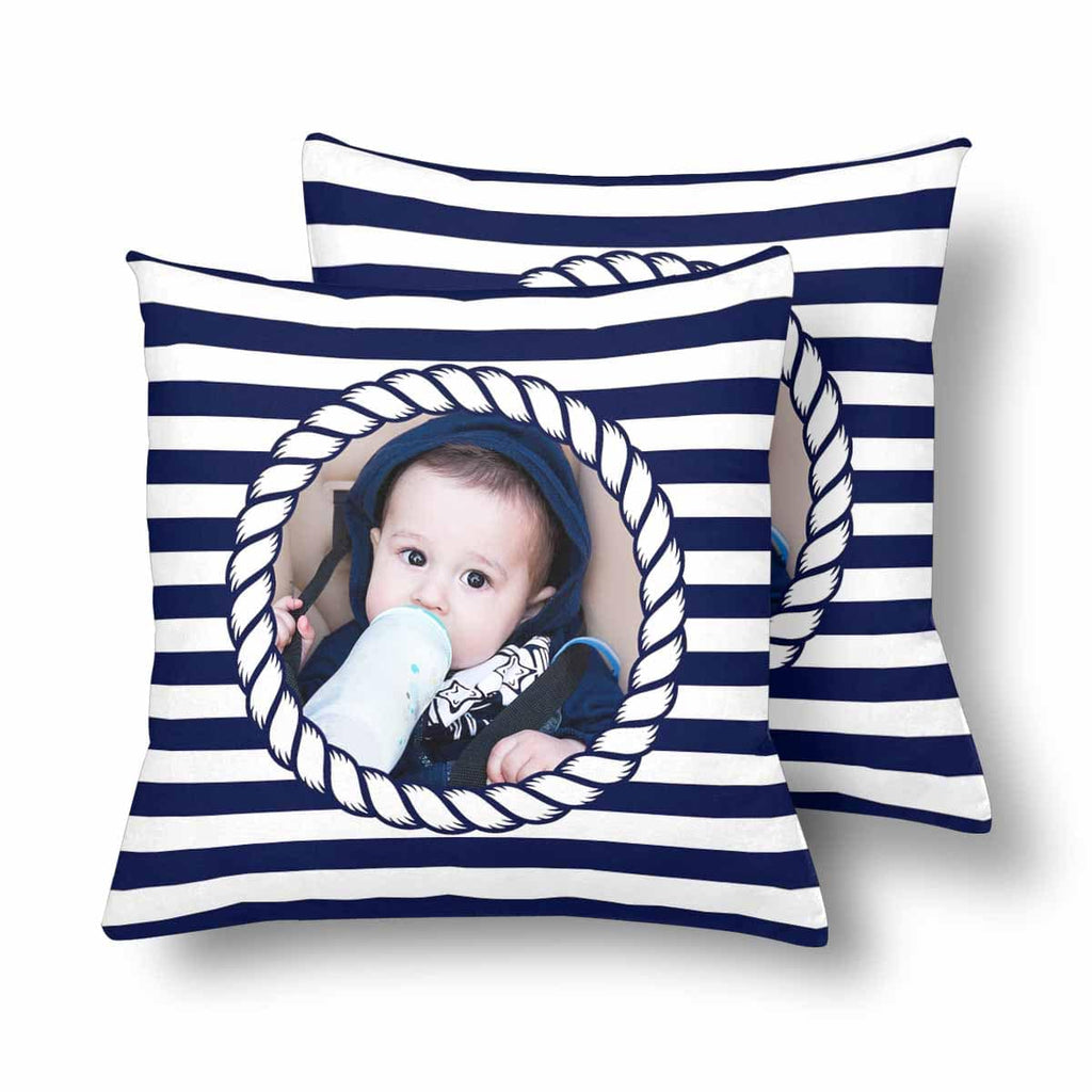Custom Sailor Stripe Baby Throw Pillow Cover