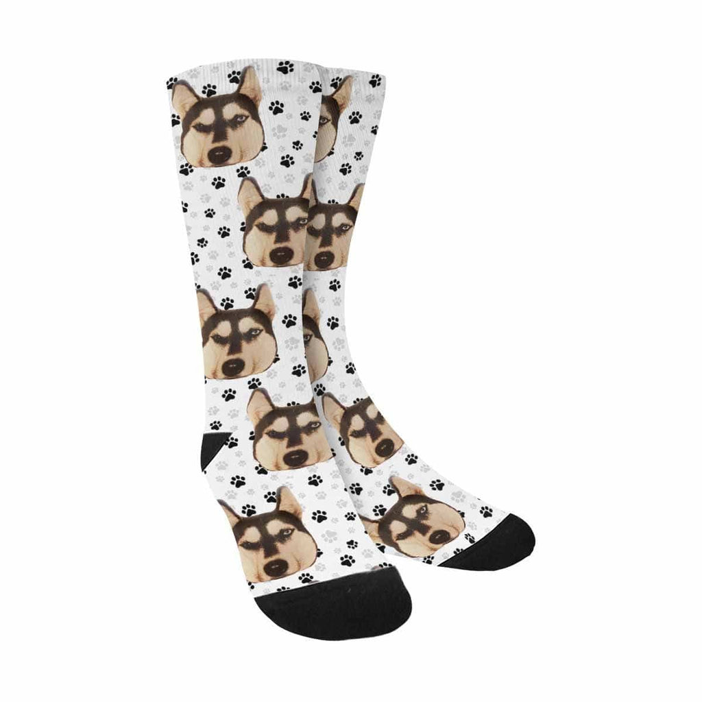 Custom Dog Paws Sublimated Crew Socks