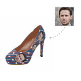 Custom Boyfriend Face Purplish Blue Women's High Heels