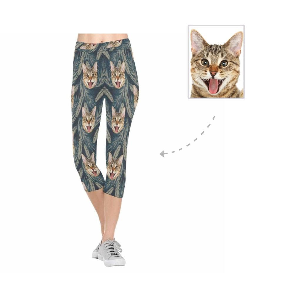 Custom Face Cat Feather All-Over Low Rise Capri