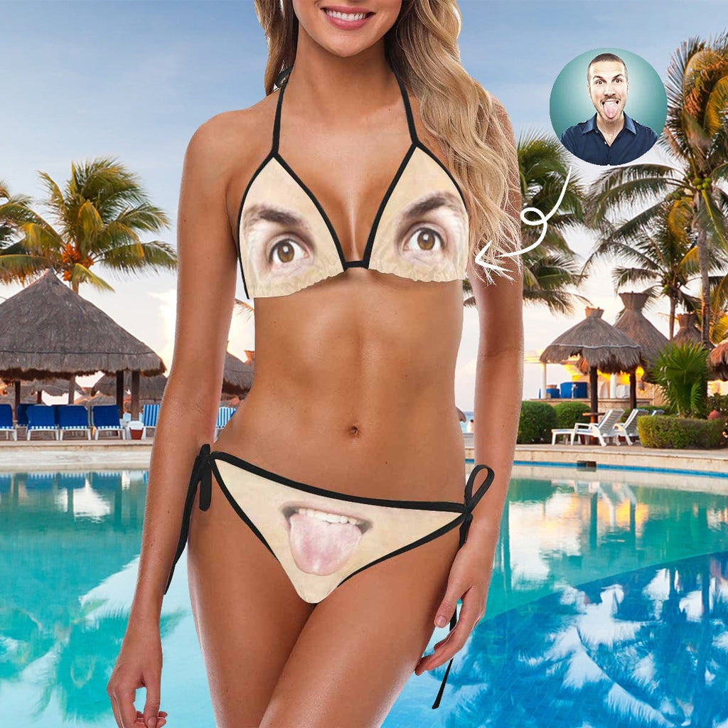 Custom Face Eyes And Lips Bikini Swimsuit