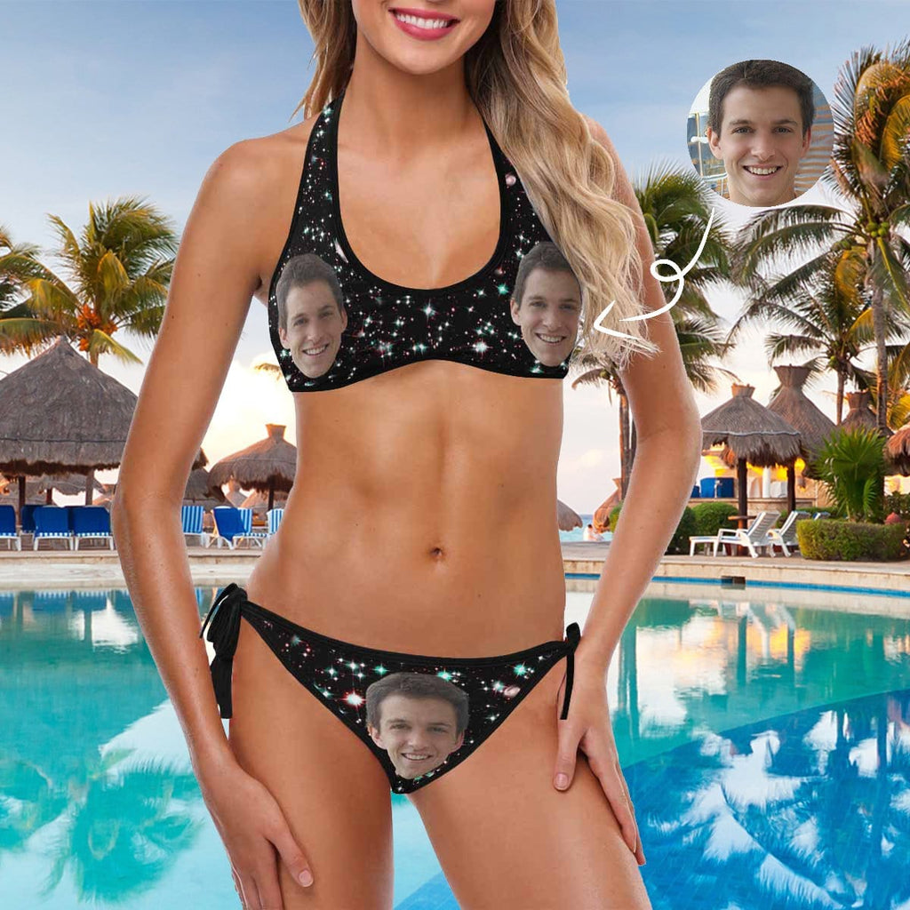 Custom Face Black Starry Sky Women's Strappy Halter Bikini Swimsuits