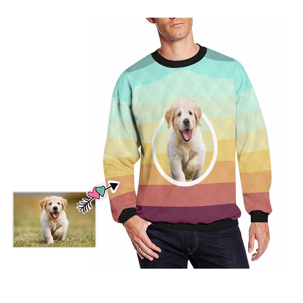 Custom Face Rainbow Stripes Men's Crewneck Sweatshirt