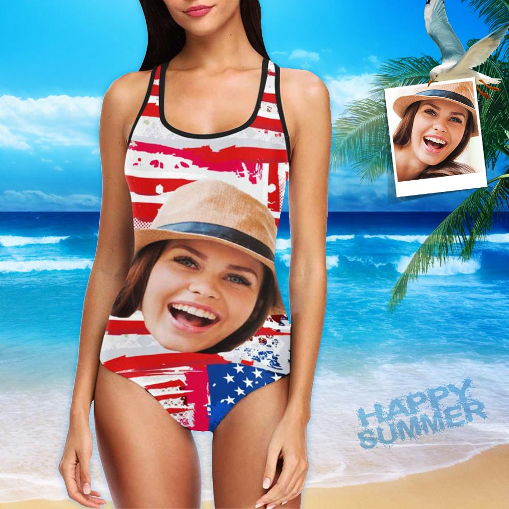 Custom Face Flag Women's One Piece Swimsuit