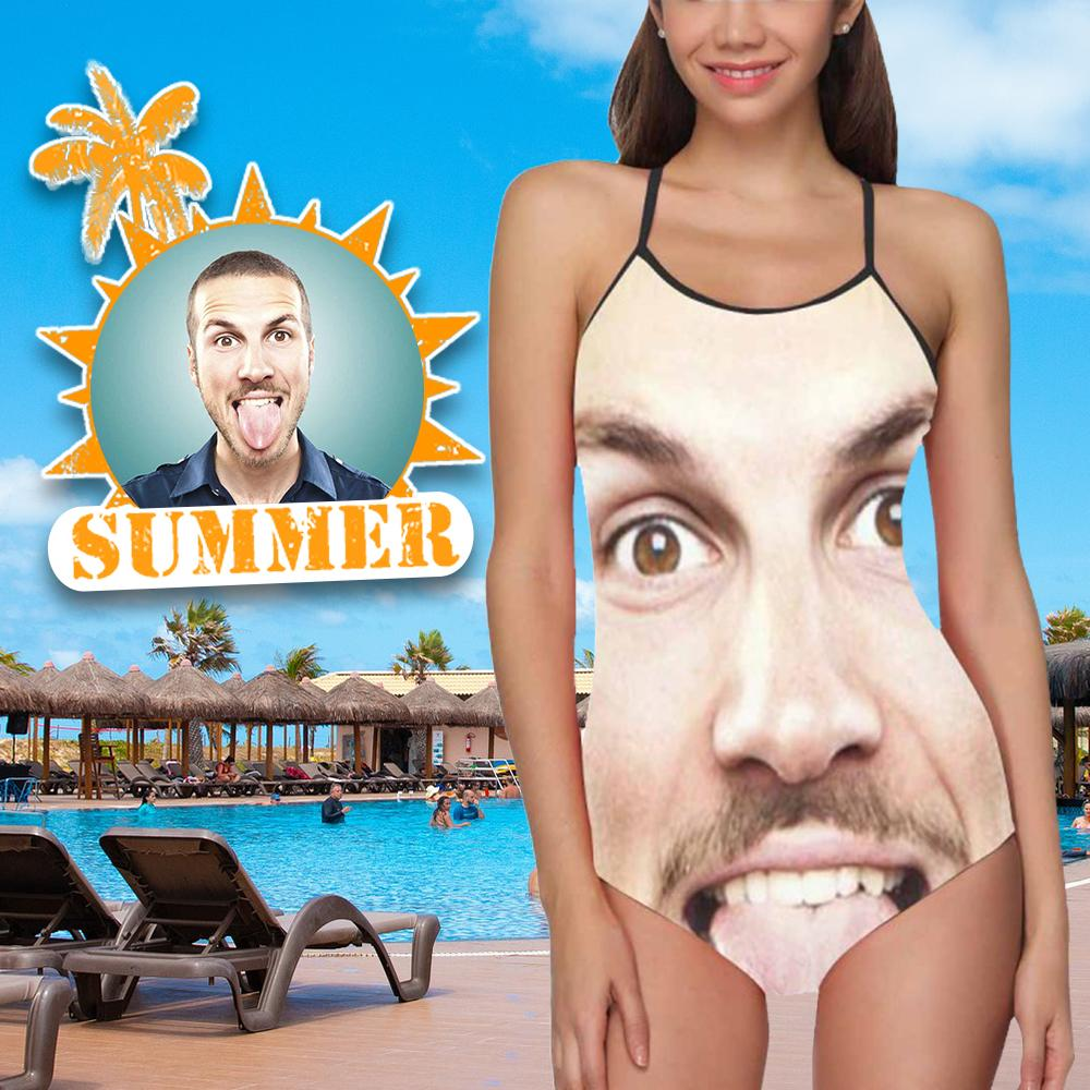 Custom Face Funny Photo Women's Slip One Piece Swimsuit