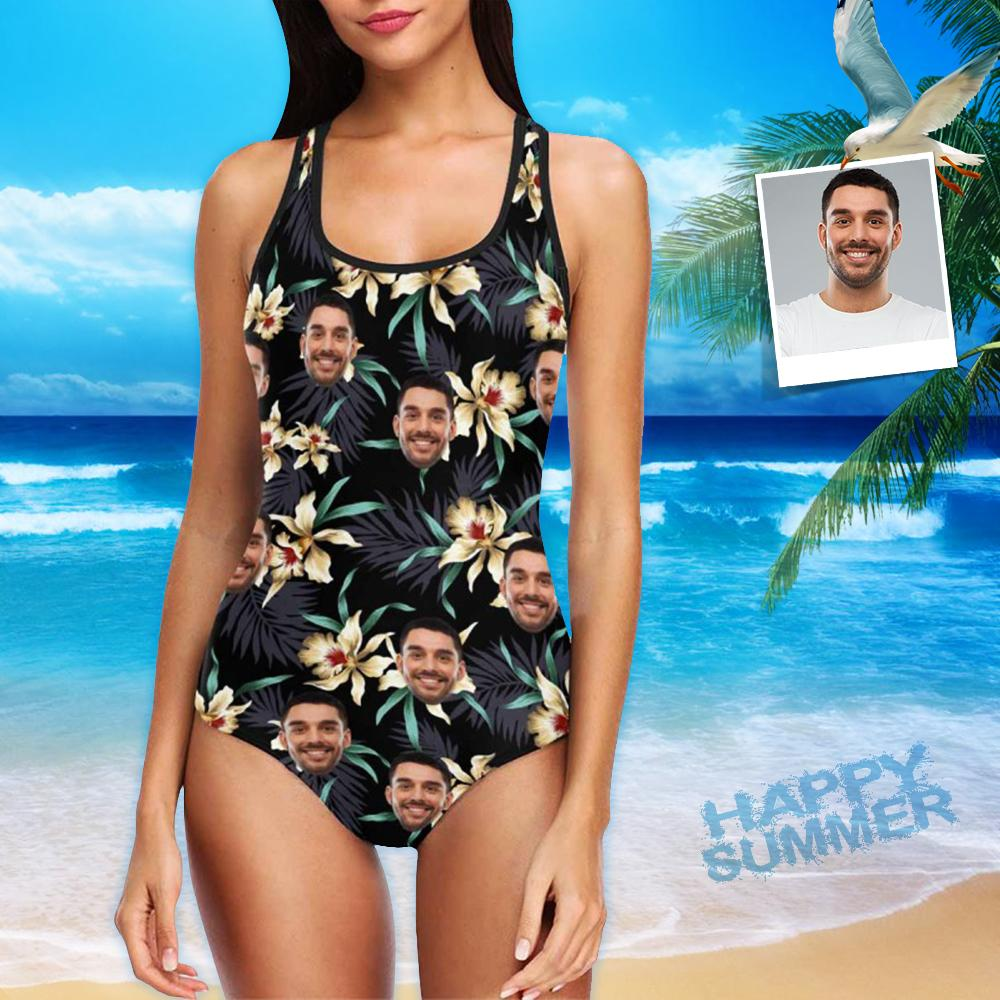 Custom Face Lily Flowers Women's Tank Top Bathing Swimsuit
