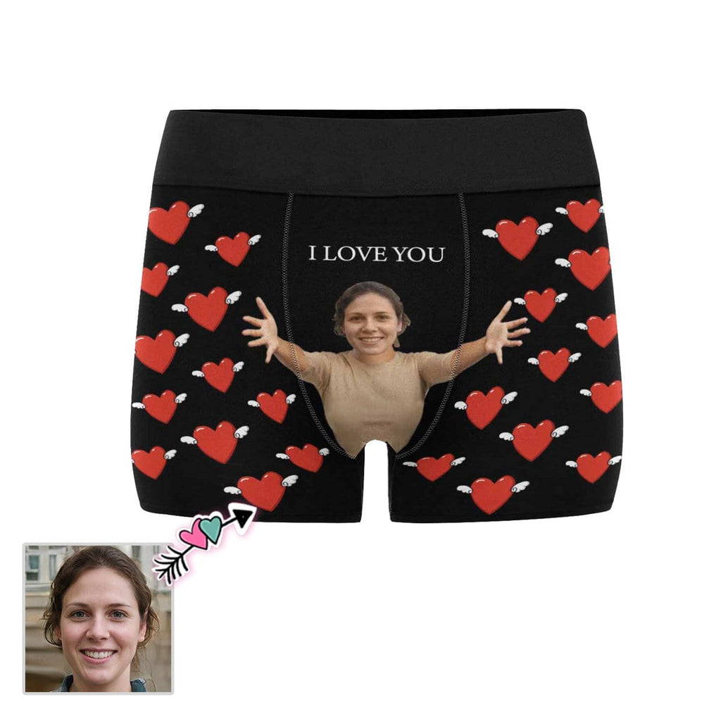 Custom Face Warm Embrace Men's All-Over Print Boxer Briefs
