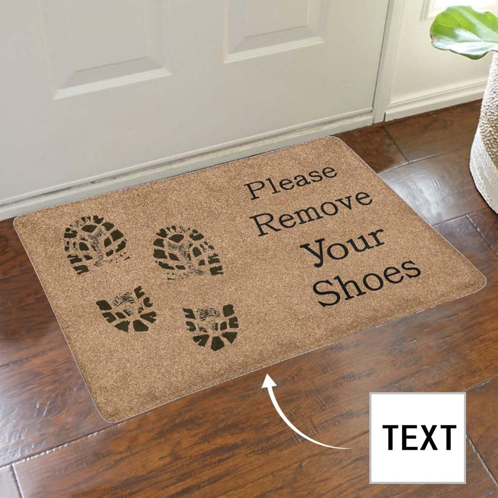 Custom Text Please Remove Your Shoes Doormat