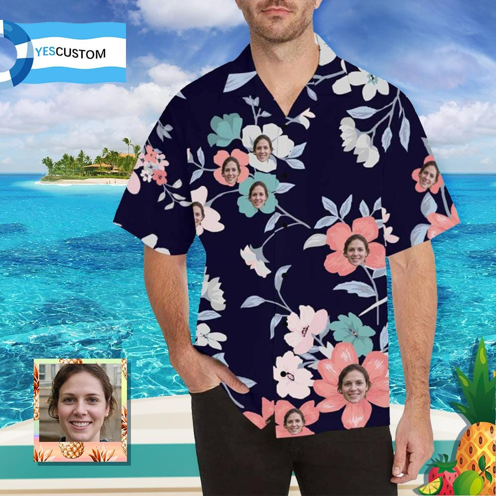 Custom Face Flower Branch Men's All Over Print Hawaiian Shirt