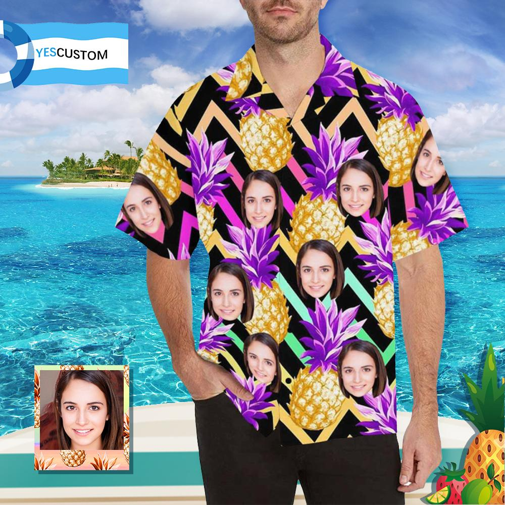 Custom Face Golden Pineapple Men's All Over Print Hawaiian Shirt