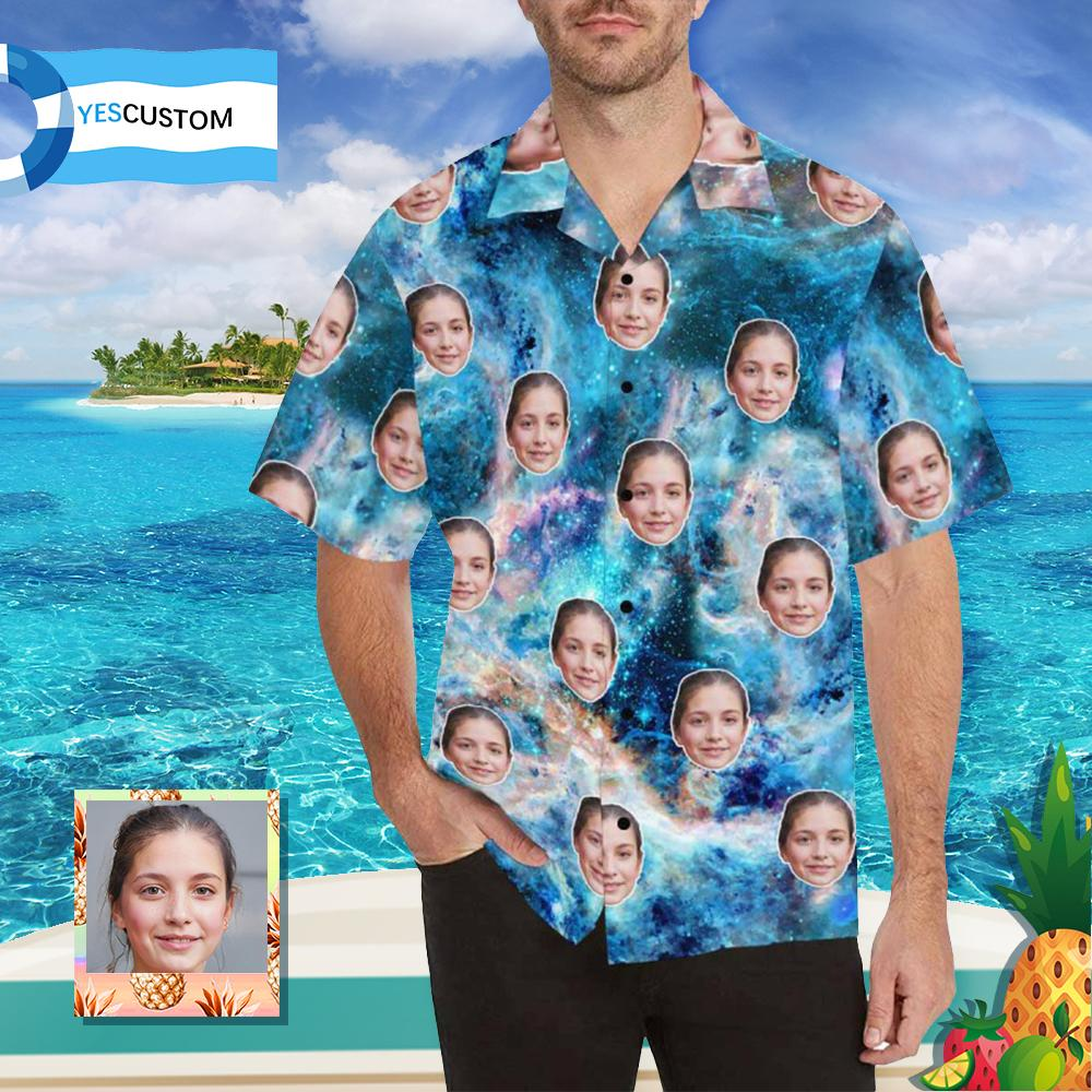 Custom Wife Face Blue Nebula Men's All Over Print Hawaiian Shirt