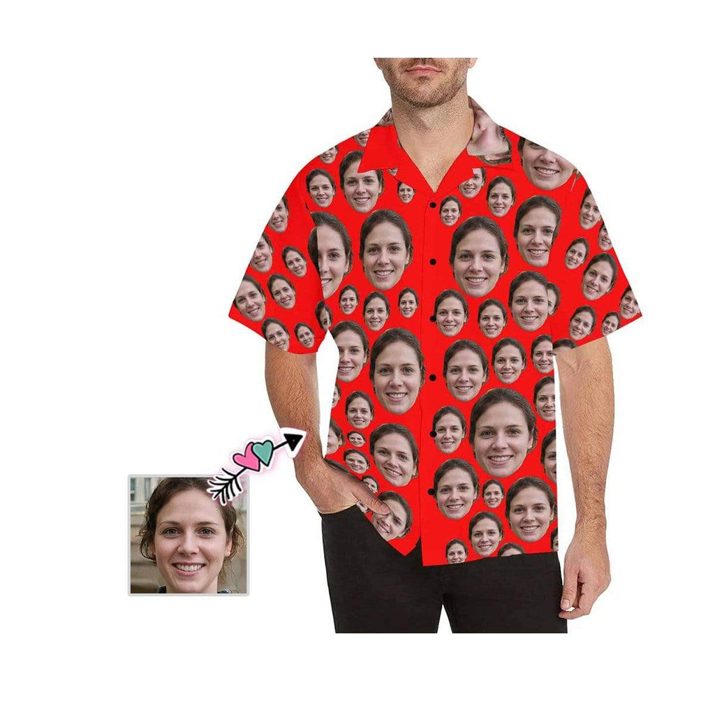 Custom Face Lover Red Men's All Over Print Hawaiian Shirt