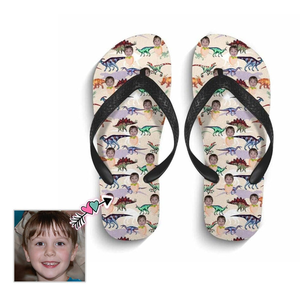 Custom Face Colorful Dinosaurs Flip Flops