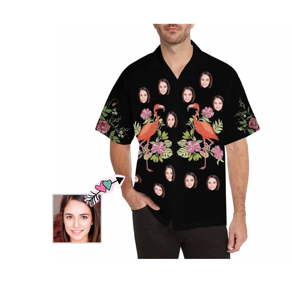 Custom Face Couple Black Men's All Over Print Hawaiian Shirt