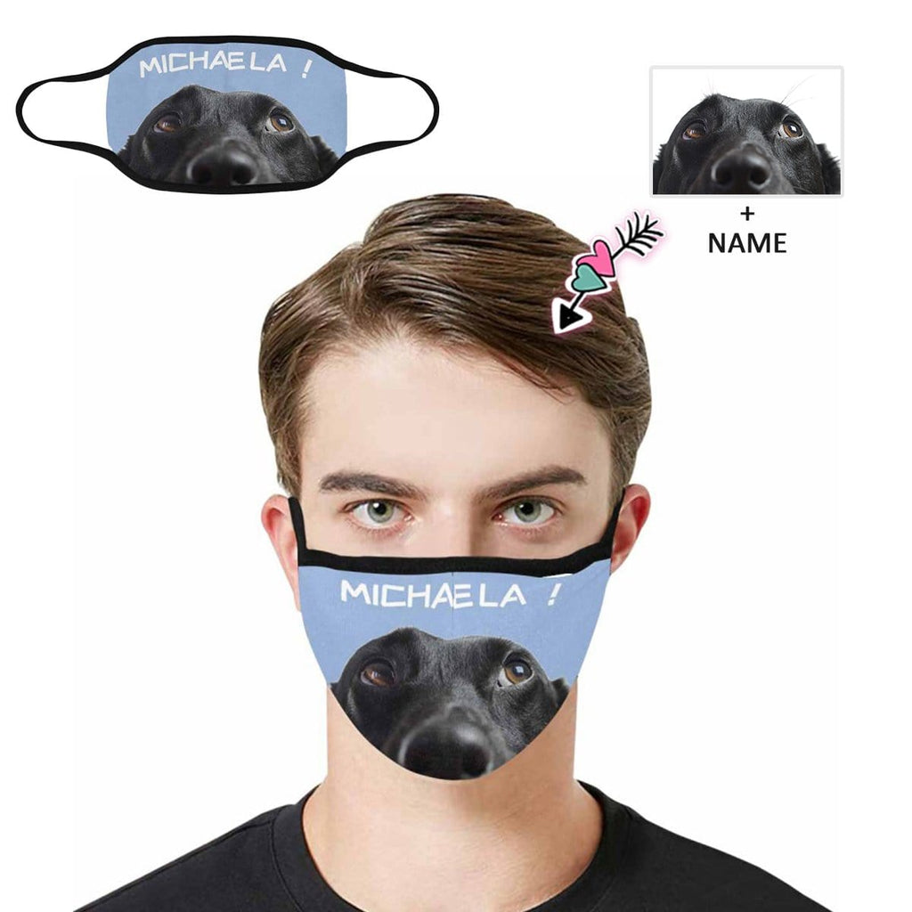 Custom Face&Name Blue Fabric Mouth Mask