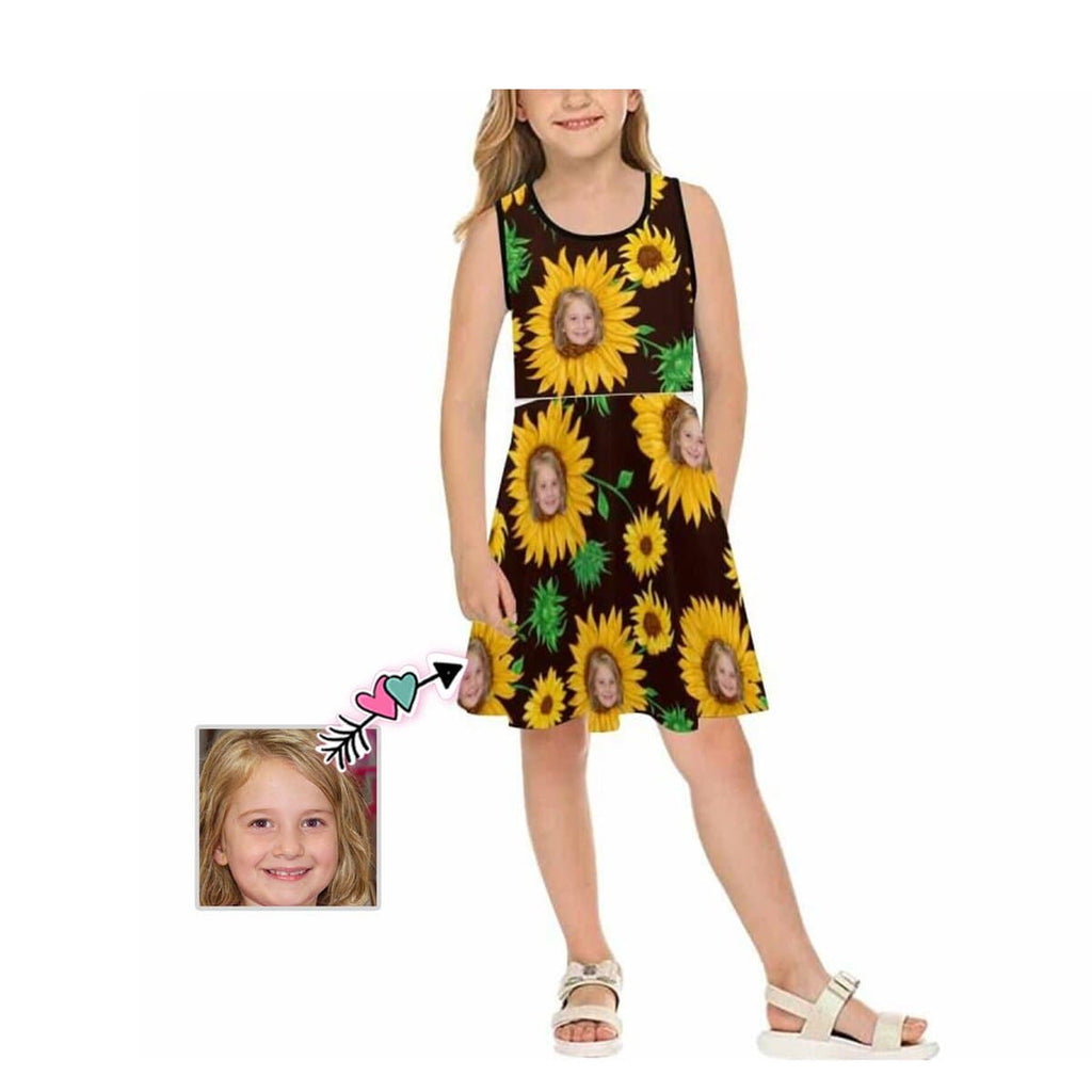 Custom Face Sunflower Black Girl's Sleeveless Sundress
