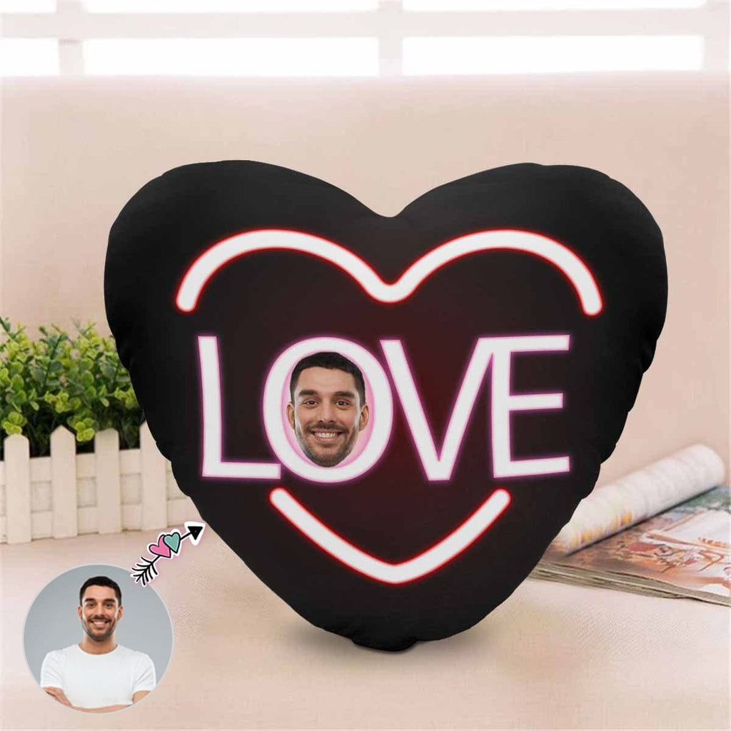 Custom Face Love You Heart-Shaped Pillow