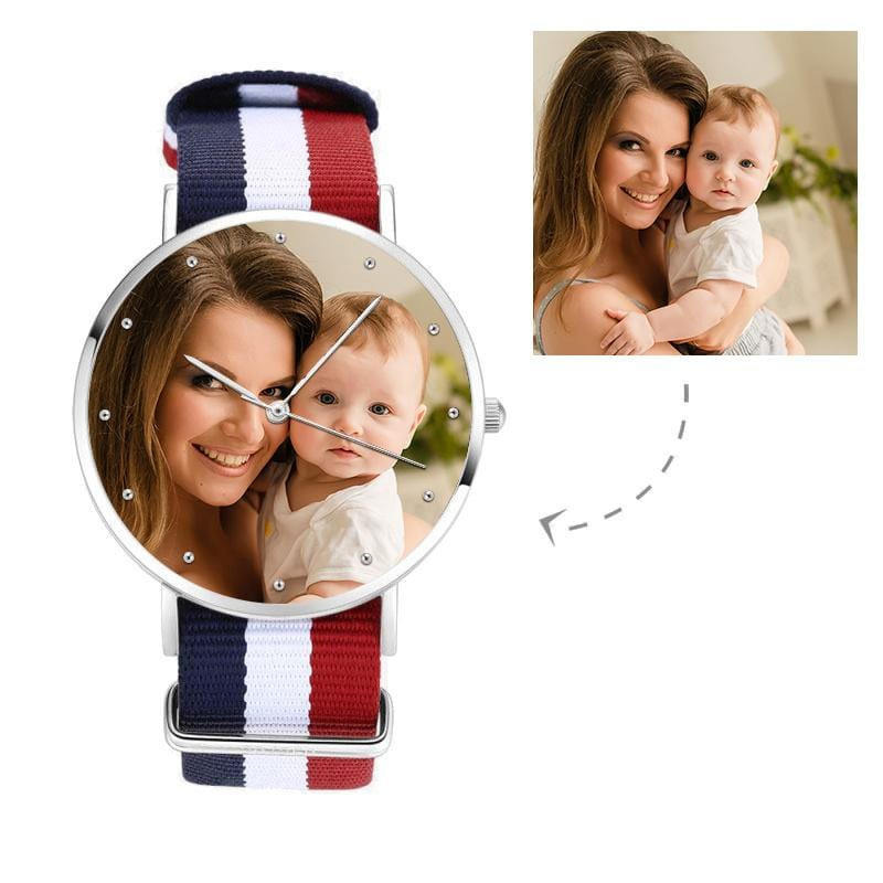 Unisex Custom Mother's Photo Watch, Nylon Strap