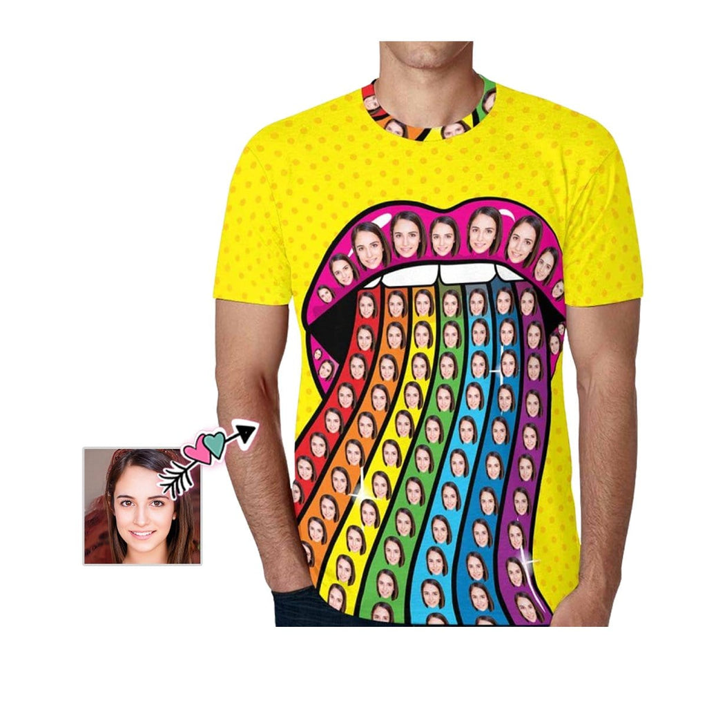 Custom Girlfriend Face Mouth Rainbow Men's All Over Print T-shirt