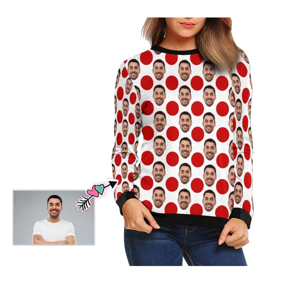 Custom Boyfriend Face Red Dots Women's Crewneck Sweatshirt