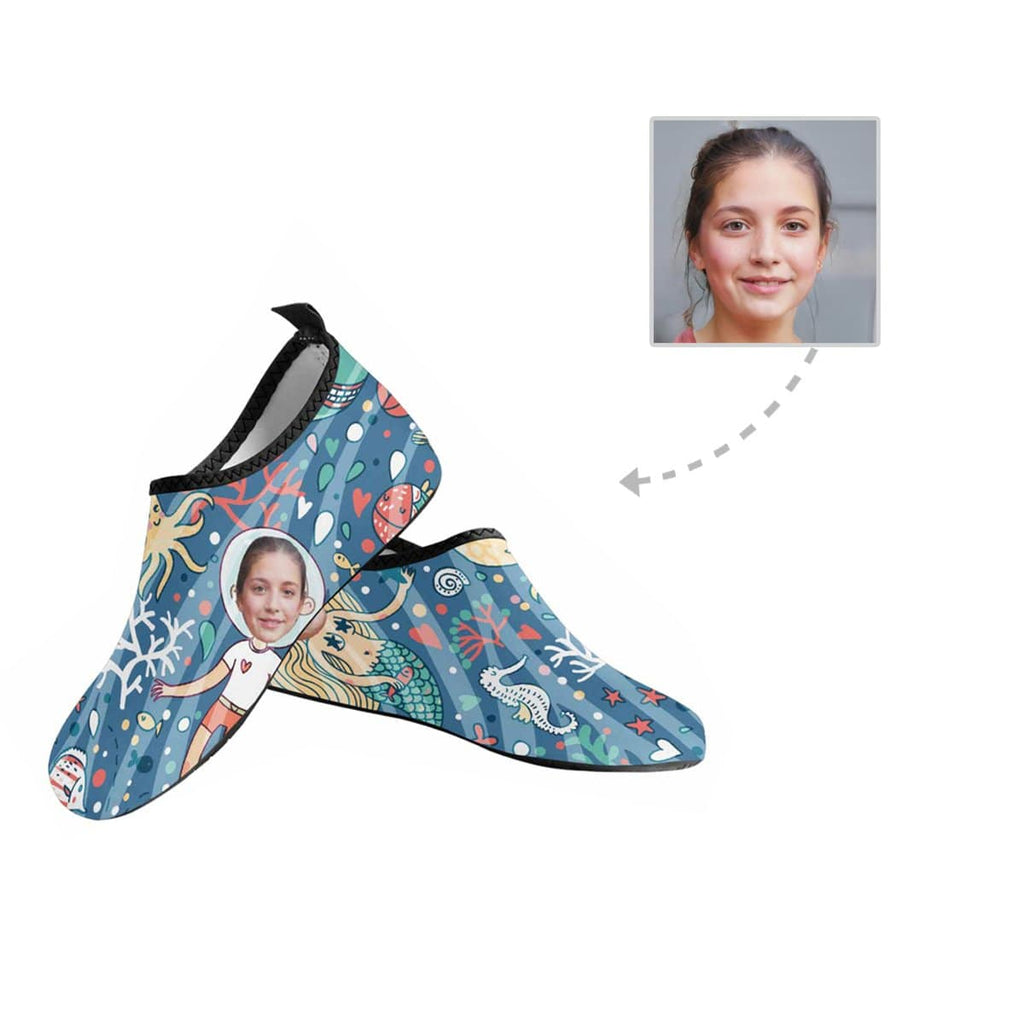 Custom Girlfriend Face Ocean World Men's Barefoot Aqua Shoes