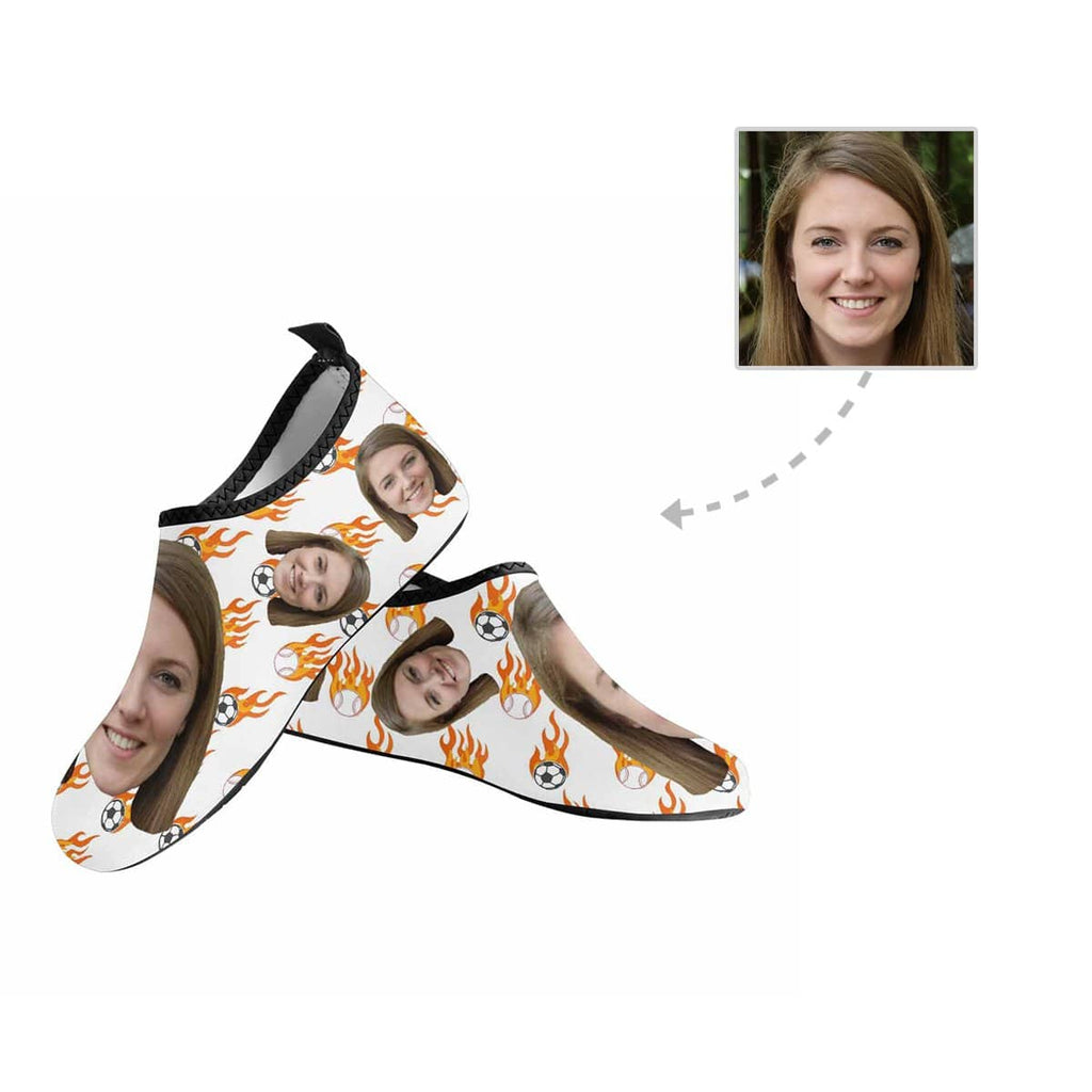 Custom Girlfriend Face Fireball Men's Barefoot Aqua Shoes