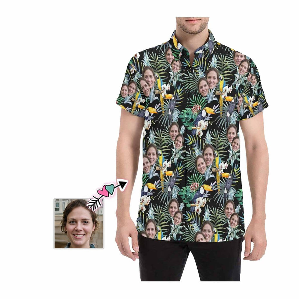Custom Face Flower Parrot Men's All Over Print Shirt