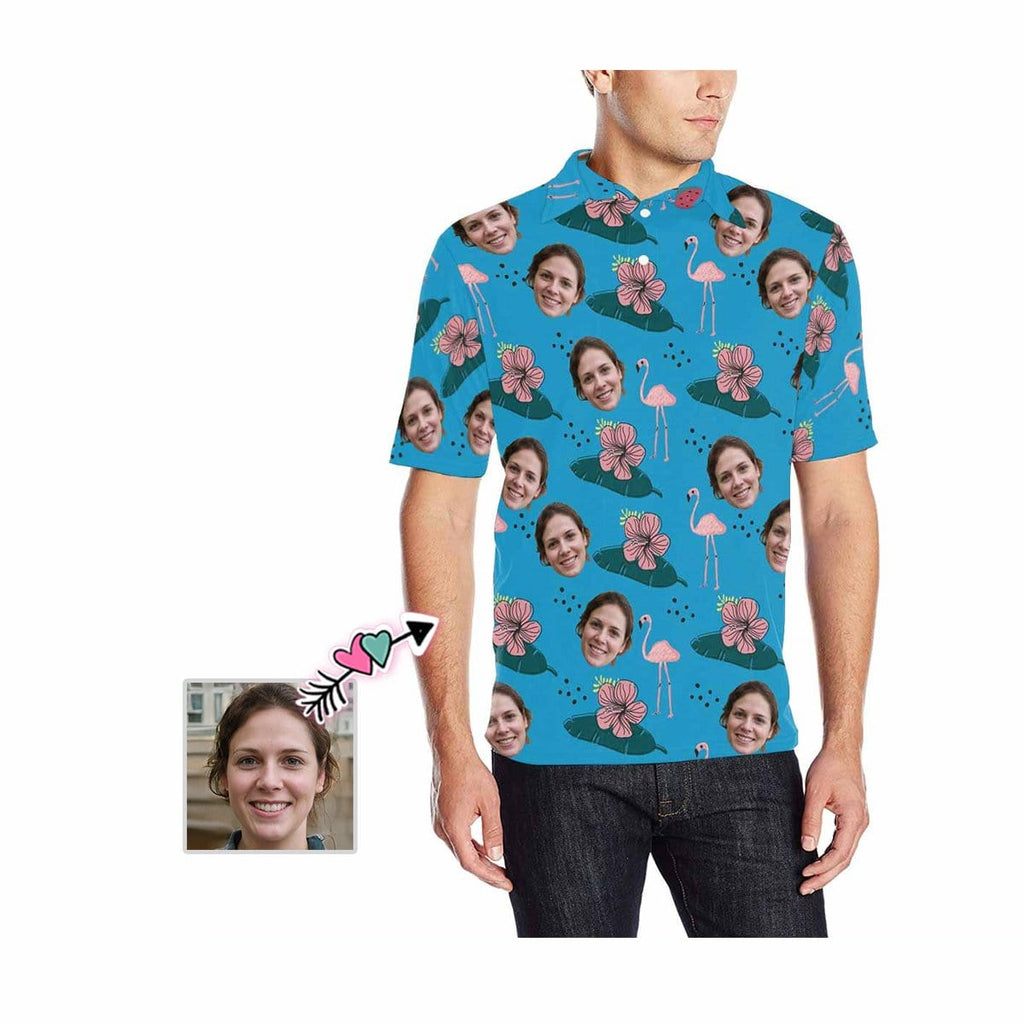 Custom Face Flower Flamingo Men's All Over Print Polo Shirt