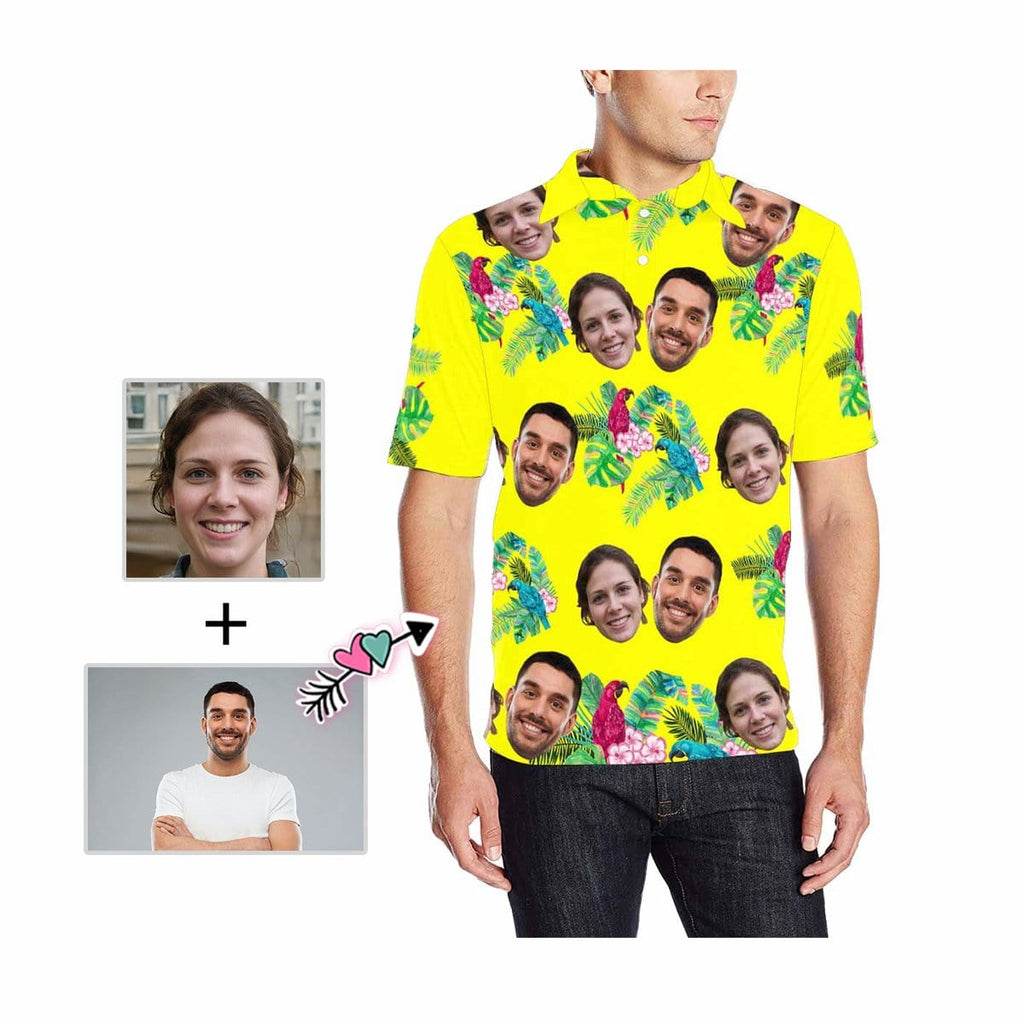 Custom Face Flower Birds Men's All Over Print Polo Shirt