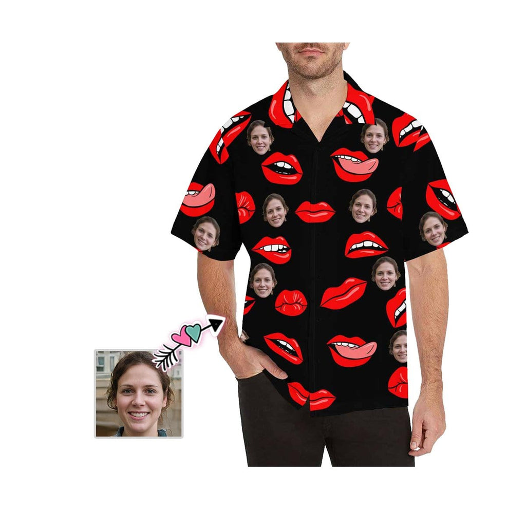 Custom Face Red Lips Men's All Over Print Hawaiian Shirt