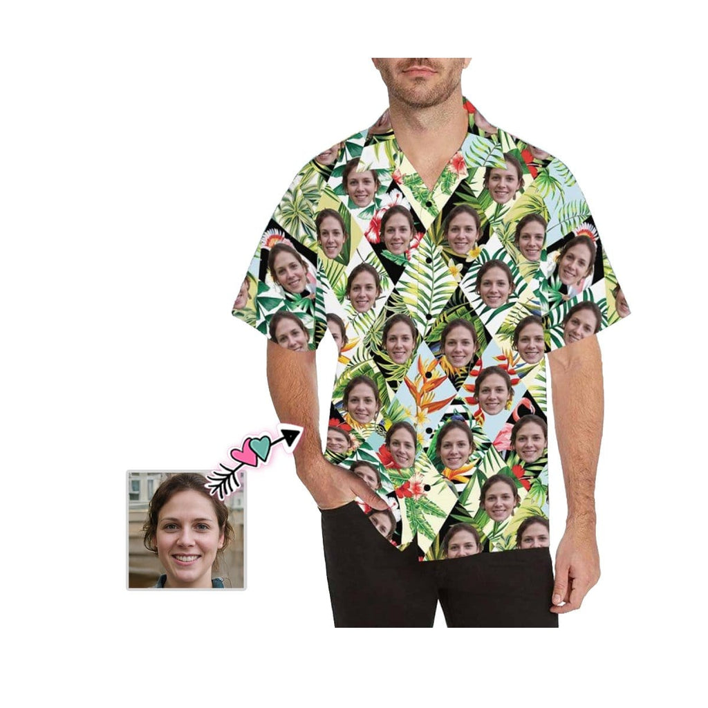 Custom Face Leaves Rhombus Men's All Over Print Hawaiian Shirt