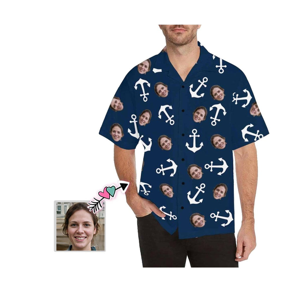 Custom Face Anchor Blue Men's All Over Print Hawaiian Shirt