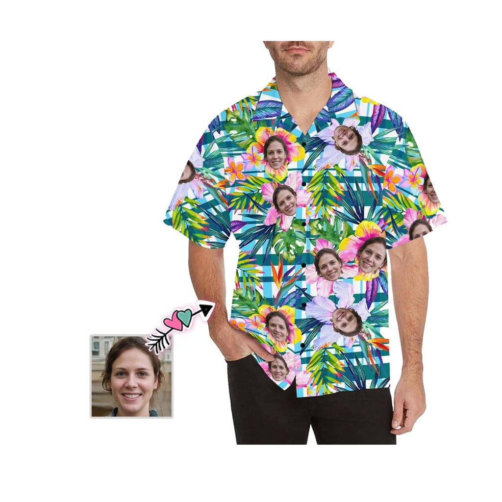 Custom Face Plaid Flower Men's All Over Print Hawaiian Shirt
