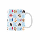 Custom Cat Face Nautical Classical White Mug