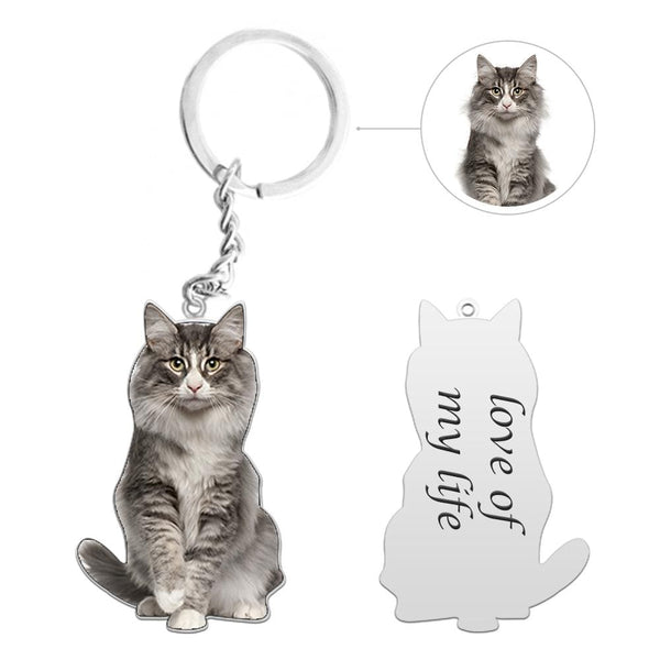 Custom Cat Photo Silver Keychain