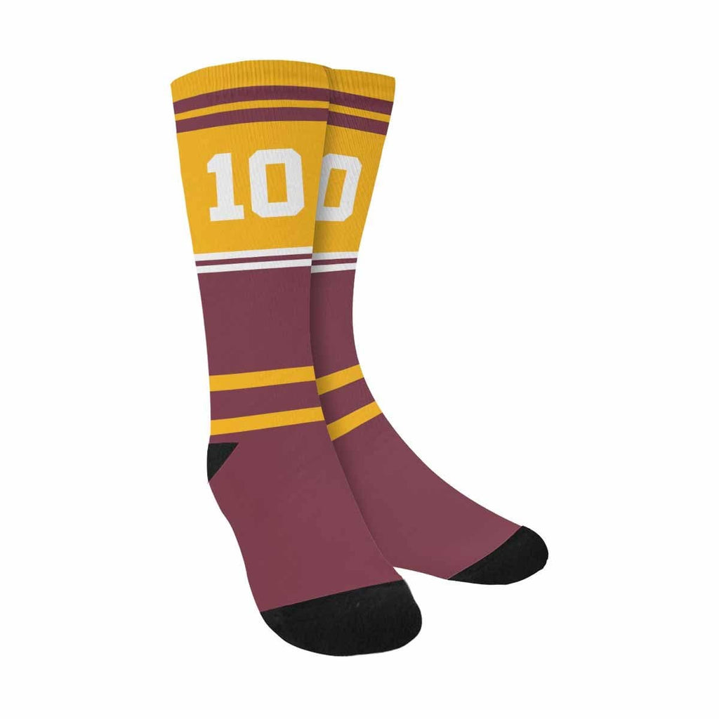 Custom Football Team Number Sublimated Crew Socks