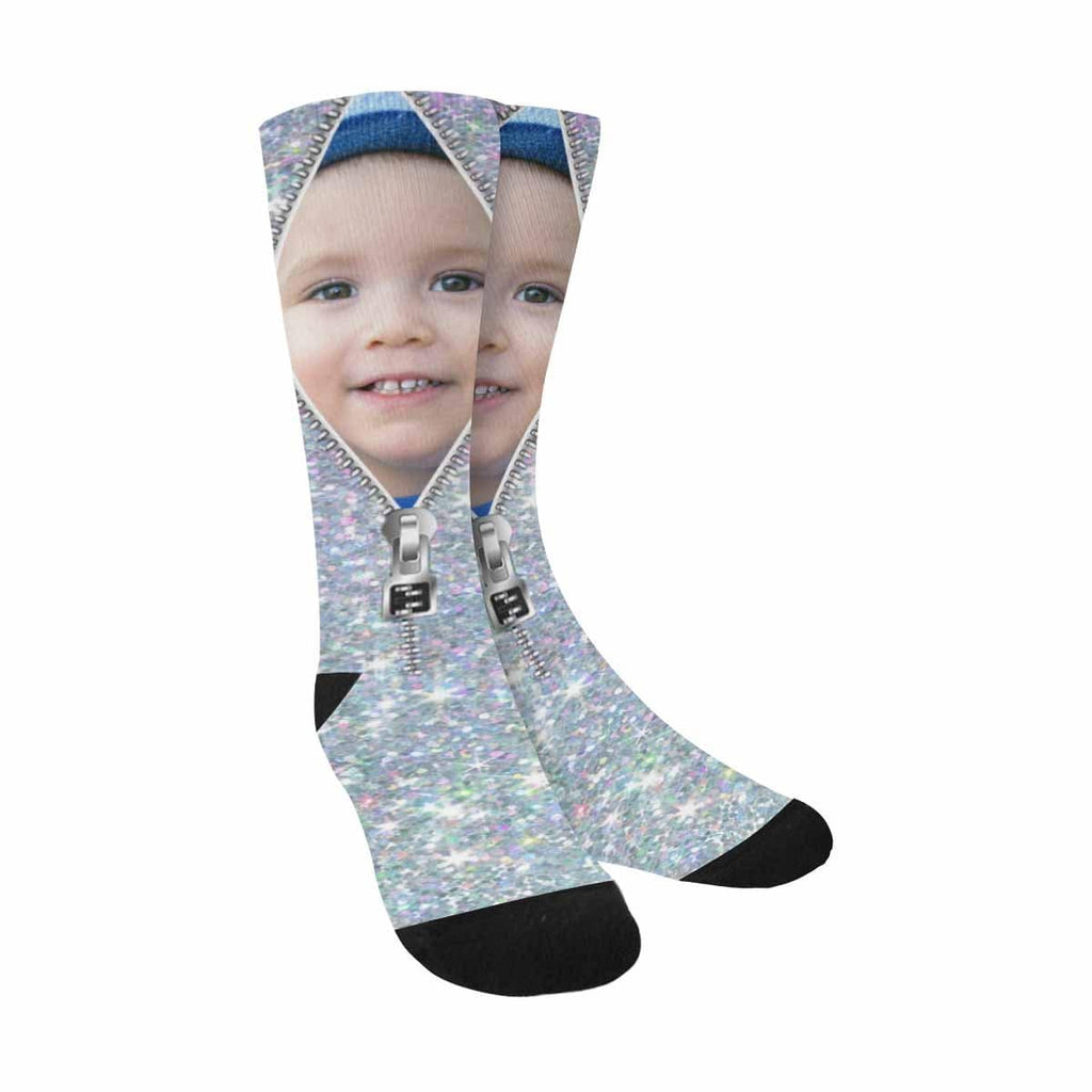 Custom Face Zipper Silvery Sublimated Crew Socks