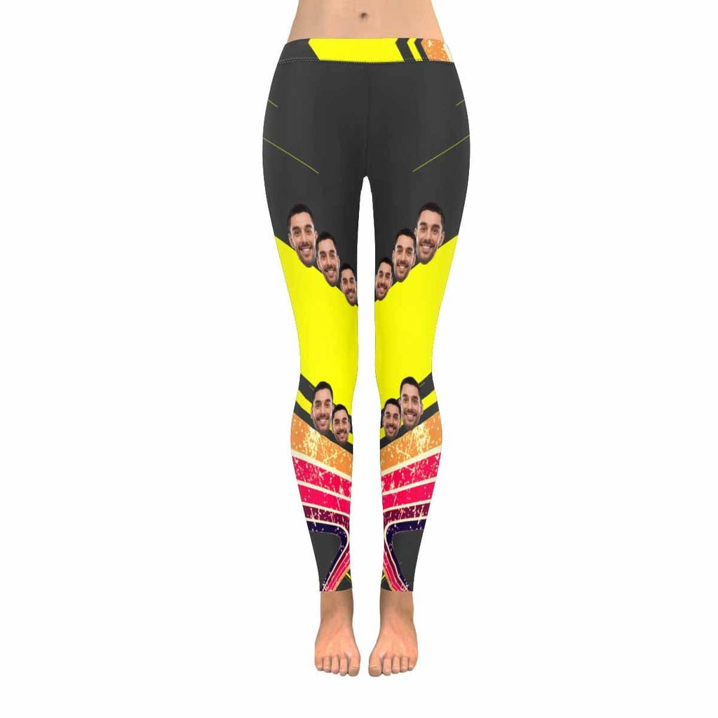 Custom Face Colorful Stripe Red All-Over Low Rise Yoga Leggings