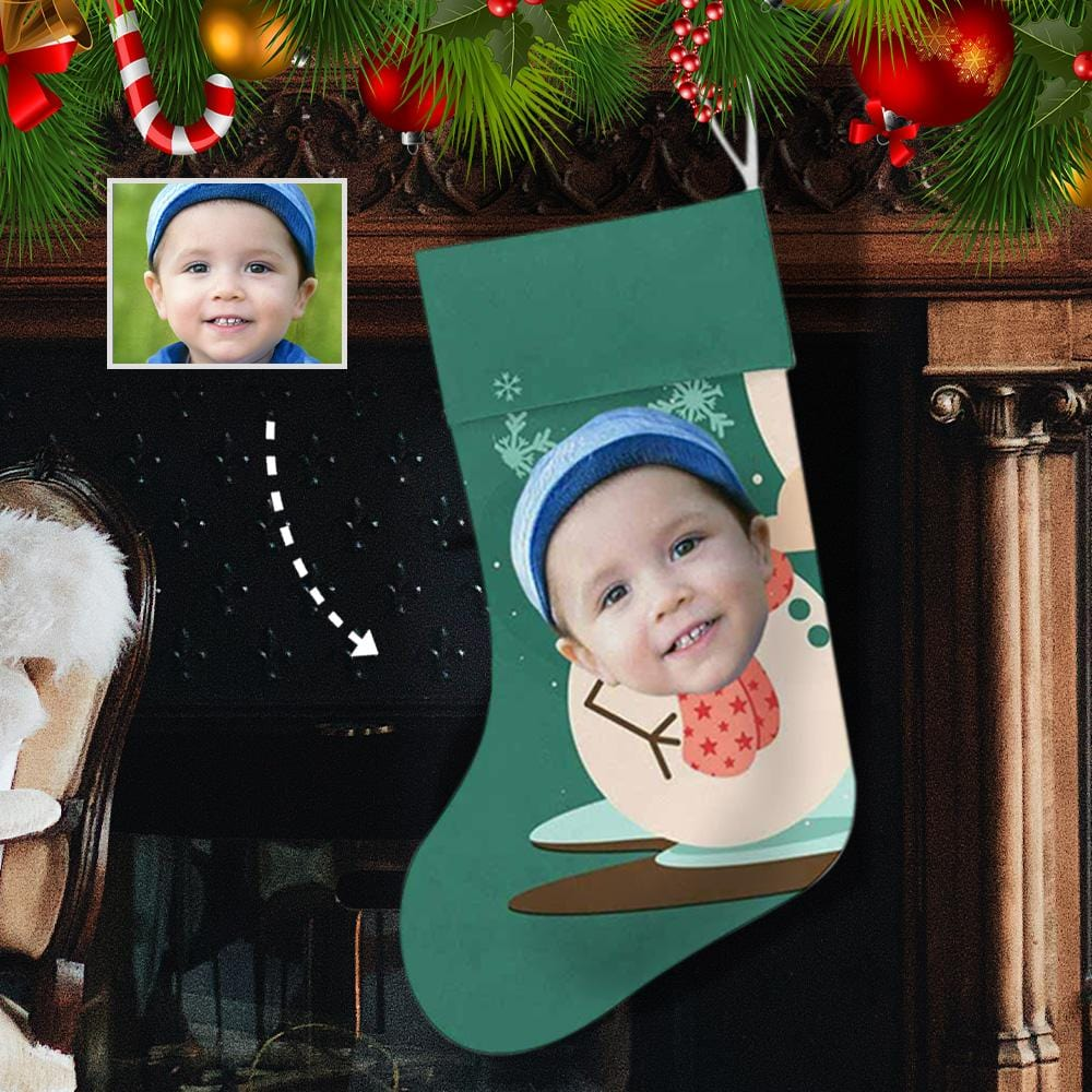 Custom Face Green Snow Man Christmas Stocking