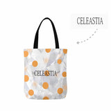 Custom Name Orange Wave Point Canvas Tote Bag