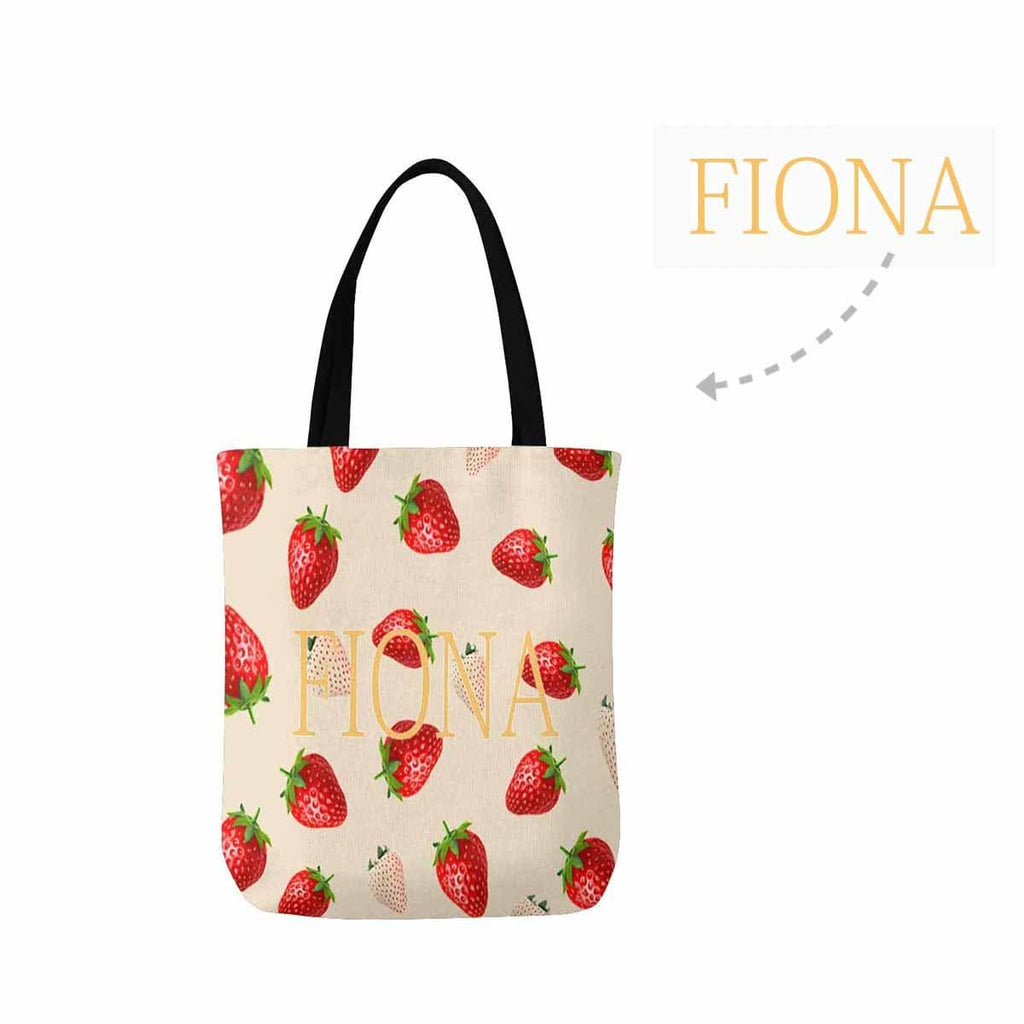 Custom Name Text Strawberry Canvas Tote Bag