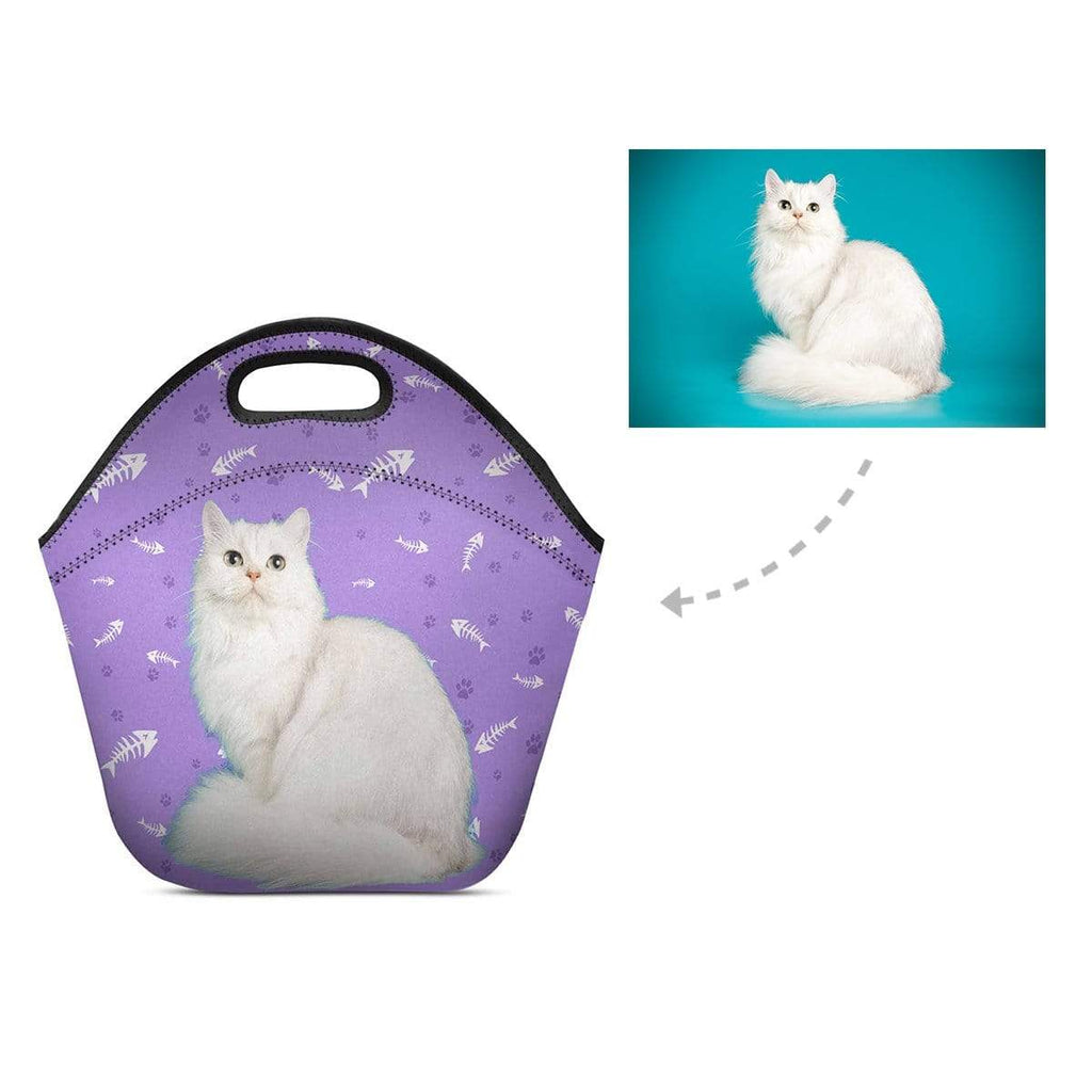 Custom Persian Cat Paw and Fish Bone Neoprene Lunch Bag