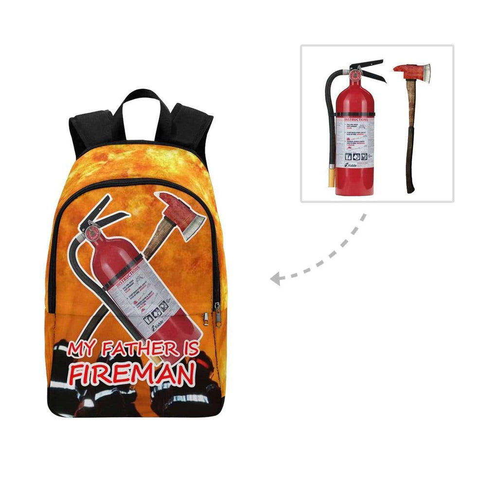 Custom Photo My Father Is Fireman Casual Backpack